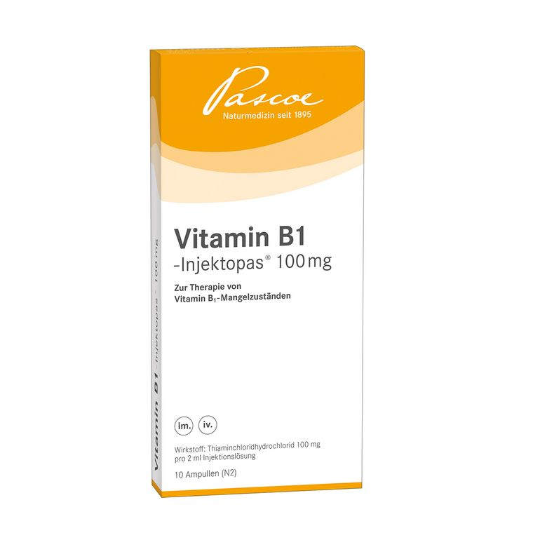 Vitamin B1-Injektopas 100 mg 10 x 2 ml Packshot PZN 03262456